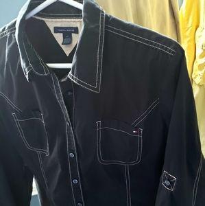 Womens Tommy Hilfiger Black Button-up Shirt Size L